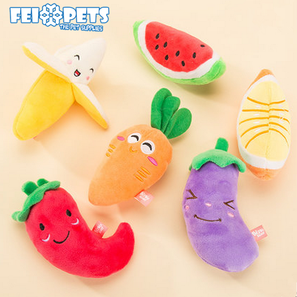 2017 colourful pet toys vegetable dog toy with squeaky plush