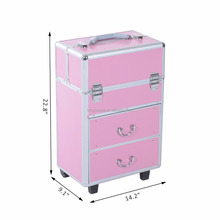 Aluminum Professional Rolling Makeup Case Salon Beauty Cosmetic Jewelry Organizer Trolley with 2 Wheels