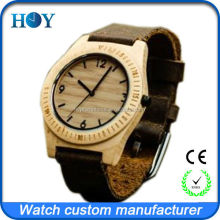 Handmade natural ebony wooden watchfor unisex style with top quality Genuine leather strap