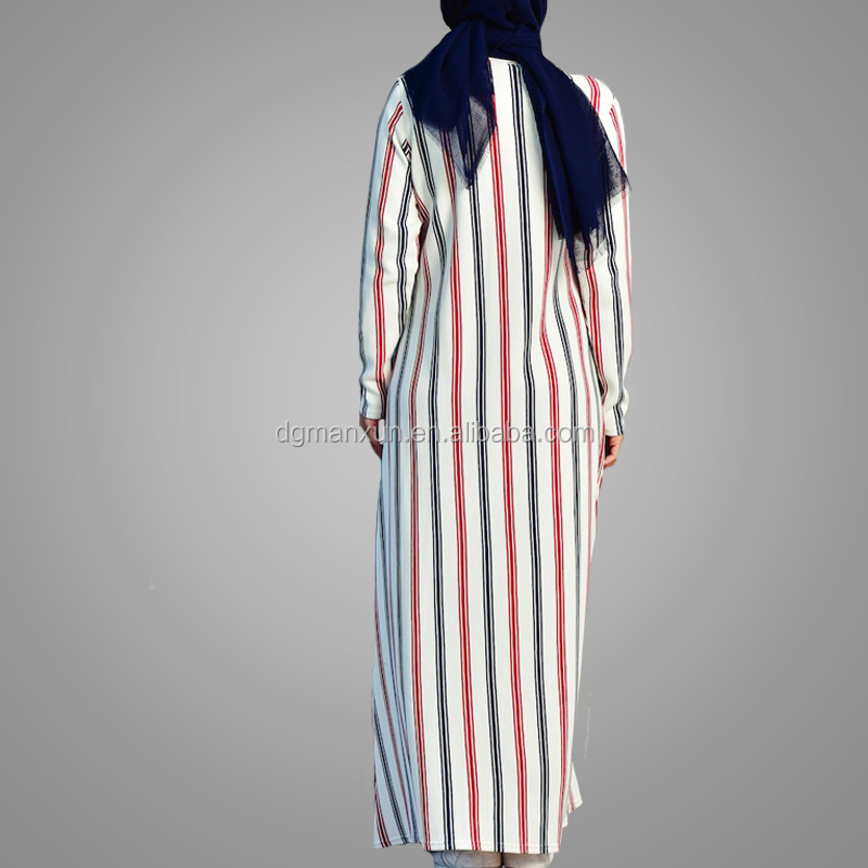 Nice Stripe Pattern Design Dubai Abaya Spring Autumn Long Sleeve Muslim Dress Casual Full Length  Islamic Women Clothes