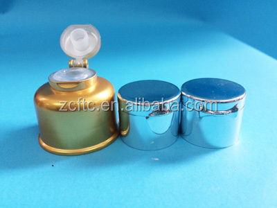 UV gold flip top cap , PP golden color lid for bottle , luxury bottle stopper