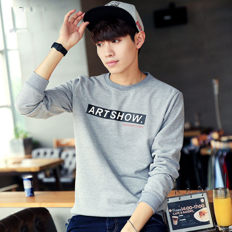 Free shipping Korean Thin Gray Hoodies <strong>T</strong>-<strong>shirt</strong> printing thin Sweatshirt