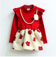 2015 Japanese new model children printed cotton clothes stylish causal baby girls dress guangzhou