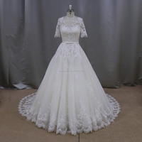 xf611 A line with Long Tail l0587 short sleeves wedding dress