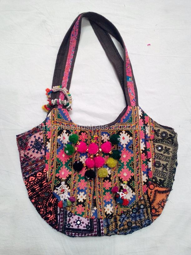 KTHB-29 New Embroidary Design Pakistani Old Zari Cotton Banjara Bags Gujrati Handbags For Ladies Trendy Tote Bags From Jaipur