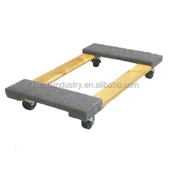 "Carpeted Wood Dolly with 4"" Swivel Non Marking Wheels"