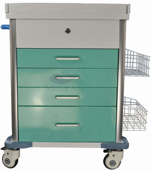 AG-MT025B OEM metal price for medical clinical trolley with dust basket