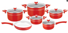 As seen on tv most popular good looking 11 pcs red cookware set