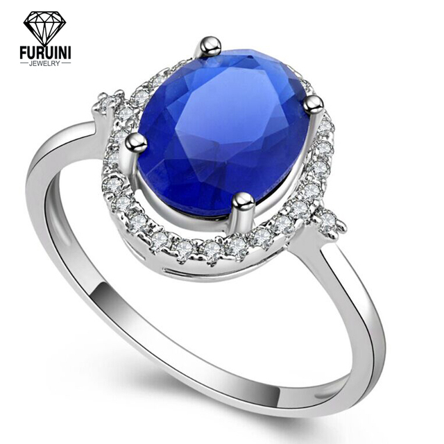 Fashion Sapphire Blue 925 Pure Silver Rhodium Plated Wedding Ring Designs For Women