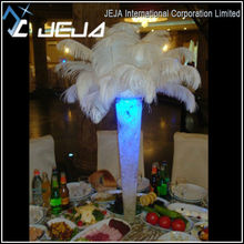 white ostrich feather centerpiece,white feather plums with pucks