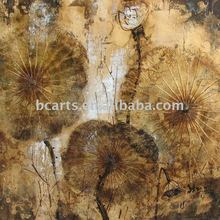 Shenzhen China Wholesale heavy textured golden abstract lotus leaf art painting