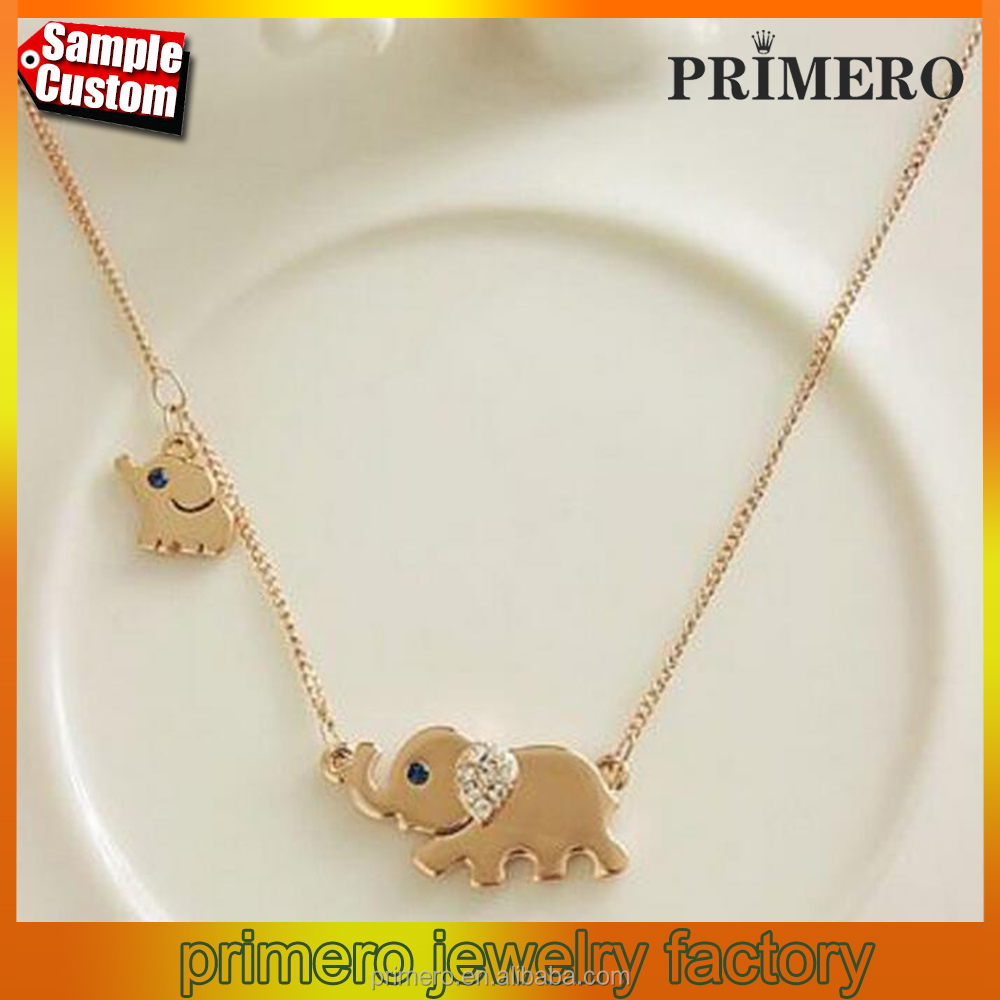 Gold Cute Elephant Family Stroll Design Women Crystal Chain Chocker necklace