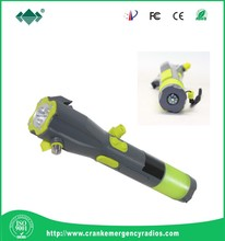 Dynamo Self Chargeing LED Flashlight with Phone Charge and safety hammer