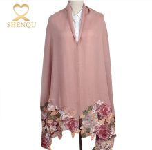 Wholesale embroidered kashmir rose flower lace ponchos scarf for women winter 100% cashmere wool poncho pashmina shawl