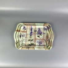 New design handled 3pcs lavender print melamine tray ware serving tray set houseware