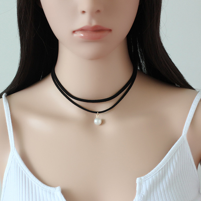 Women black double layered collar necklace fashion white pearl choker