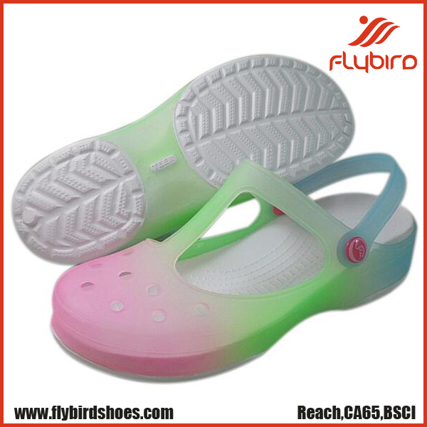 Flybird Shoes new design summer colorful gradual change lady clog shoes