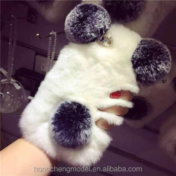 Compatible for iPhone 4 5s 6s Hot Selling Rabbit Fur Phone Case For Girl Luxury Cover