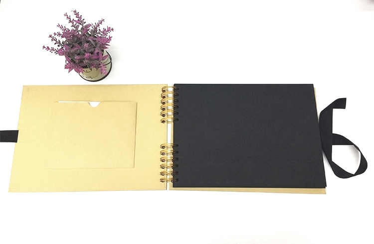 Recycled Kraft Paper Black Hardcover Gold Spiral Binding Adhesive Scrapbook With Ribbon