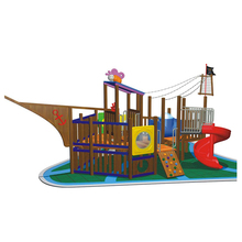 Play Equipment Kids Wood Plastic Composite Outdoor Pirate Ship Wooden Train Playground equipment slide