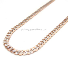 10k Rose Gold Diamond Sharp Edge Cut Cuban Chain 18-24 Inch 3mm