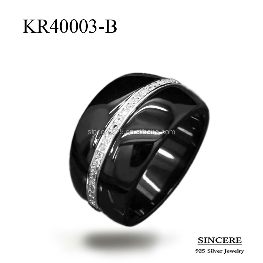 Sterling silver black white ceramic ring of latest design jewelry