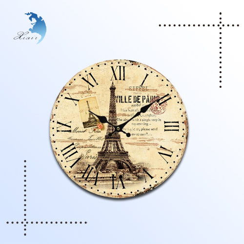 Unique design wooden wall clock wholesale, fashionable wood frame wall clock vintage