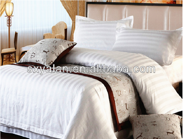 white sateen jacquard fabric for hotel bed sheets