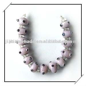 pink lampwork glass evil eye beads