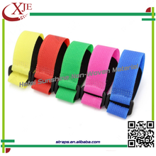 100% Nylon Material and Black Color plastic buckle hook and loop strap
