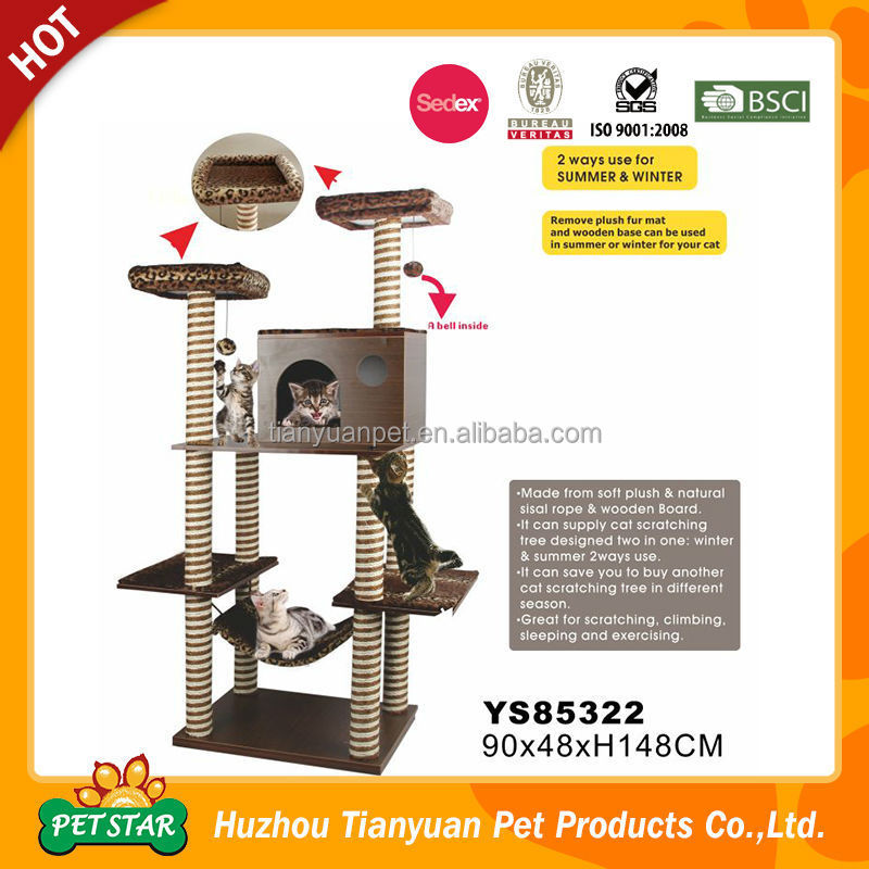 Cost Saving! China Supplier Summer Use Eco-Friendly Modern Wooden Wholesale Scratching Cat Tree for Sale