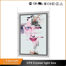 Edgelight CF5 double sided electrical boxes , magnetic type crystal ultra slim acrylic led light box CE ROHS