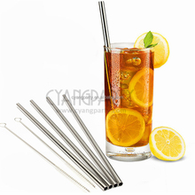 Straight 6X215mm Reusable Stainless Steel Metal Cocktail Straws