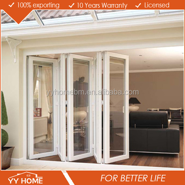 YY Home high quality aluminum double glazing exterior folding door partition for banquet hall