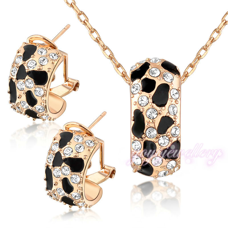 Pakistan popular jewelry milk cow fake gold jewelry necklace and earring crystal jewelry set