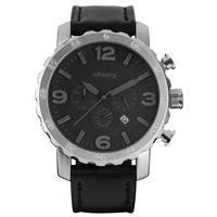 Infantry Rotatable Bezel Silver Leather Strap Chronograph Military Watch