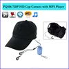 HD 1280*720P Multifunction Camera Hat with MP3 Player cap Camera with remote controller pin-hole DVR Camcorder PQ106