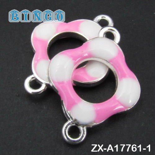 Enamel Jewelry Beads And Findings Link Connector Pink & White