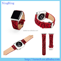 Luxury Christmas Colour leather watch bands strap wrist band for Apple i watch