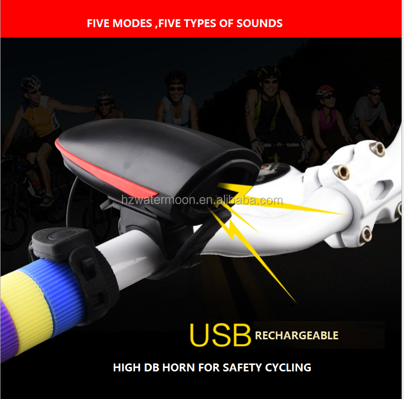 120DB Electronic Horn Bicycle Alarm with USB rechargeable Led Light for MTB