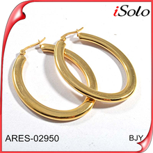 stainless steel 18K gold plating oval shape bali hoop earrings