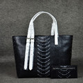 luxury python leather tote bag-genuine leather shopping bag two tone