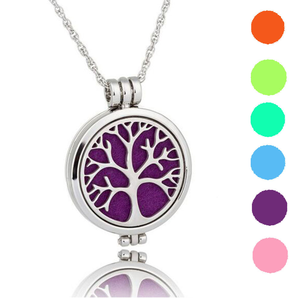 Tree Of Life Aroma Perfume Locket Pendant Glow In The Dark Aromatherapy Essential Oil Diffuser Necklace