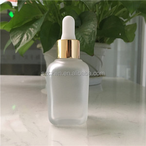 frosted french square glass bottle 30ml with gold dropper for cosmetic serum