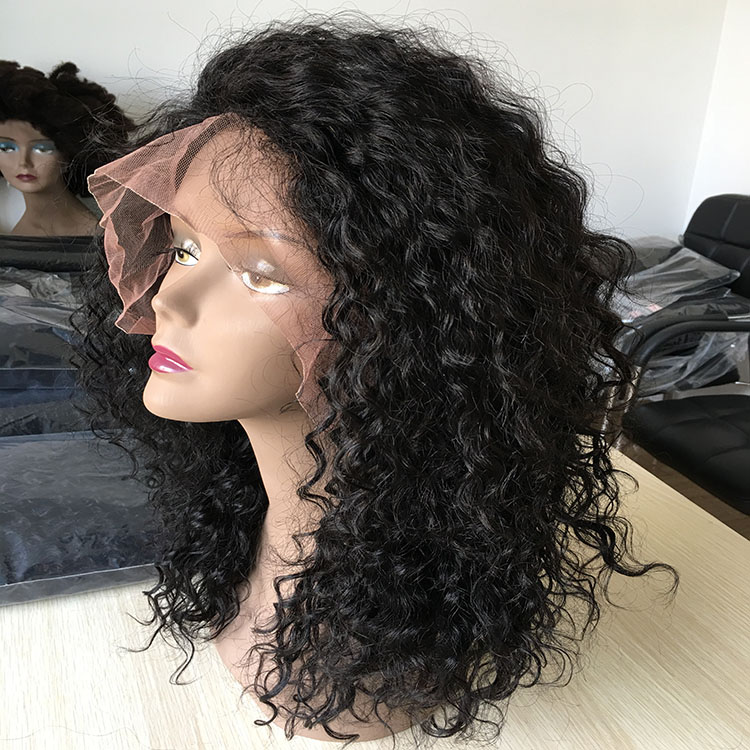 Drop shipping new arrival 10a grade virgin human hair kinky curly side parting full lace wig with baby hair