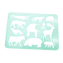 drawing jungle animals stencil sets for kids,green plastic stencil