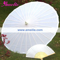 A0394 Wholesale White Silk Umbrella with Fan for Wedding