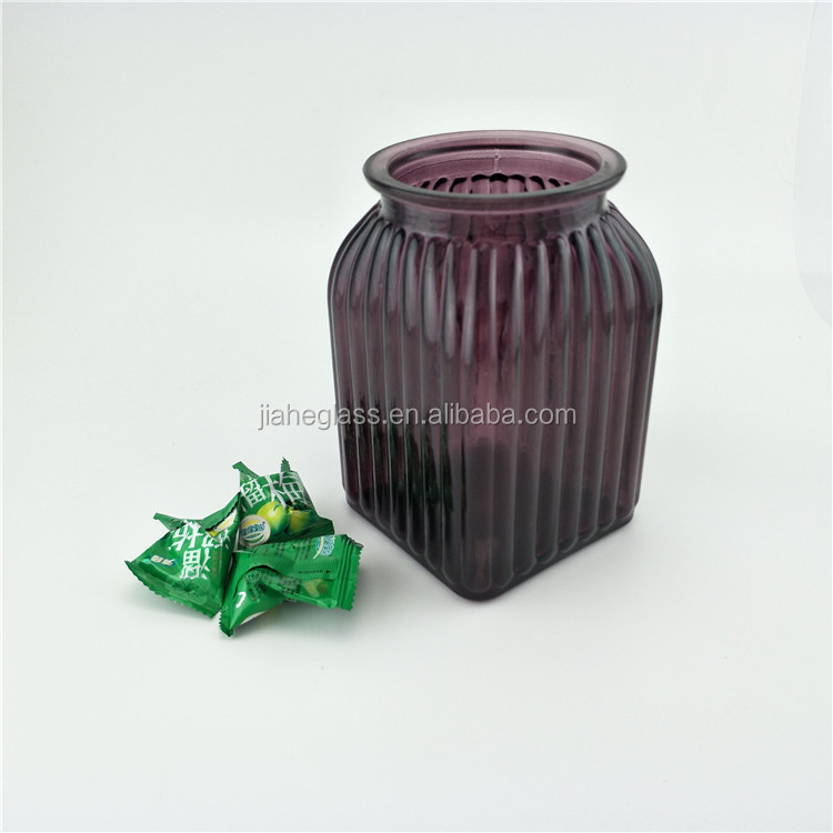 brilliant purple square medium glass vase for flower candy