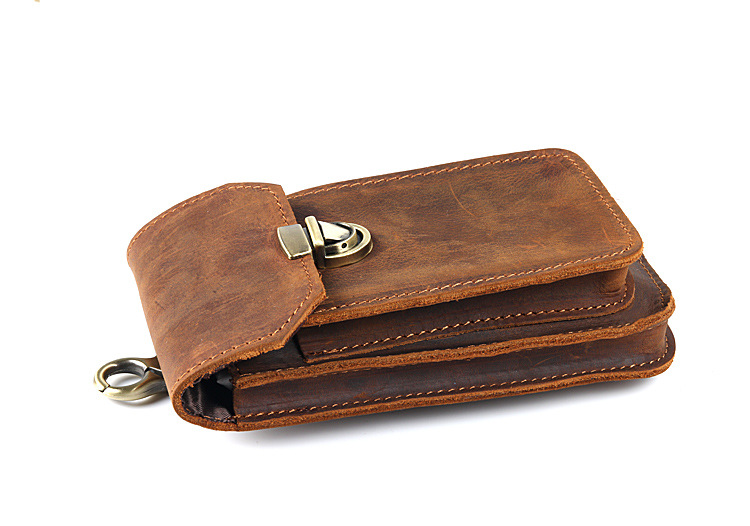 pb010 Crazy Horse Genuine Leather Mobile Waist Belt Bag for Phone