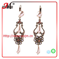 ER4786 Jingmei gold plated turquoise double color earring